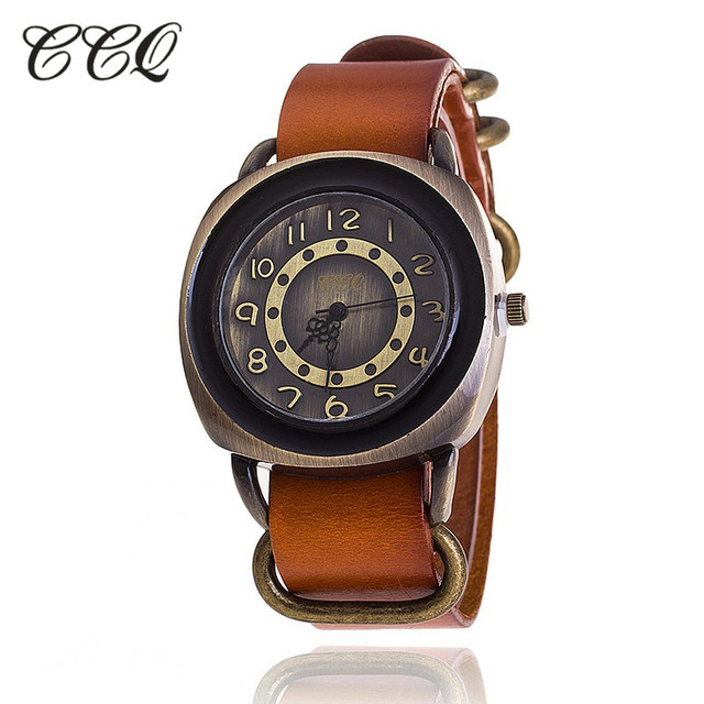 CCQ Brand Retro Vintage Cow Leather Bracelet Watch Women Casual Quartz Watch Ladies Girls Wristwatch Relogio Feminino 1311