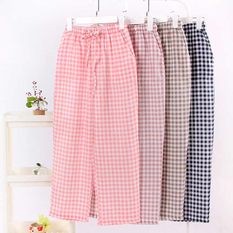 Causal Pajama Pants Plaid Spring Summer Cotton Gauze Lounge Pants Women Loose Plus Size Nightwear Woman Sleep Pants