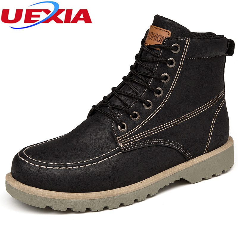 UEXIA Winter Men Boots With Fur High Top Warm Sneakers Plush Ankle Snow Boot Male Walking Shoes Botas Martin Motorcycle Footwear big size 46 men s winter sneakers plush ankle boots outdoor high top cotton boots hiking shoes men non slip work mountain shoes