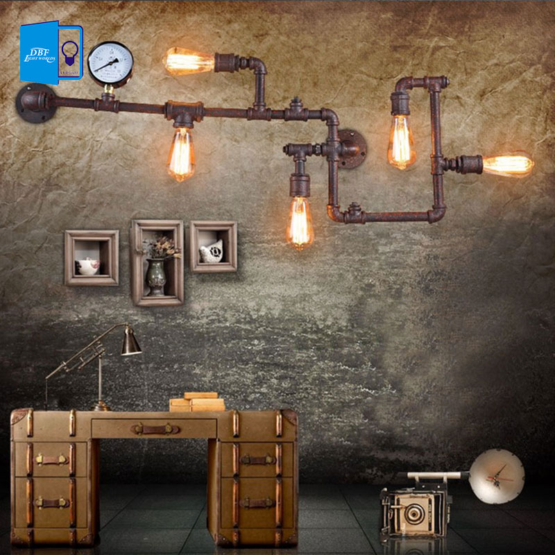 [DBF]Loft Retro Edison Water Pipes Wrought Iron Wall Lamp for Living Room Bedroom Bar Cafe Vintage Industrial Wall Lamp Sconces loft industrial vintage edison wrought iron metal net led pendant lights lamp for cafe store shop hall dining room bedroom bar