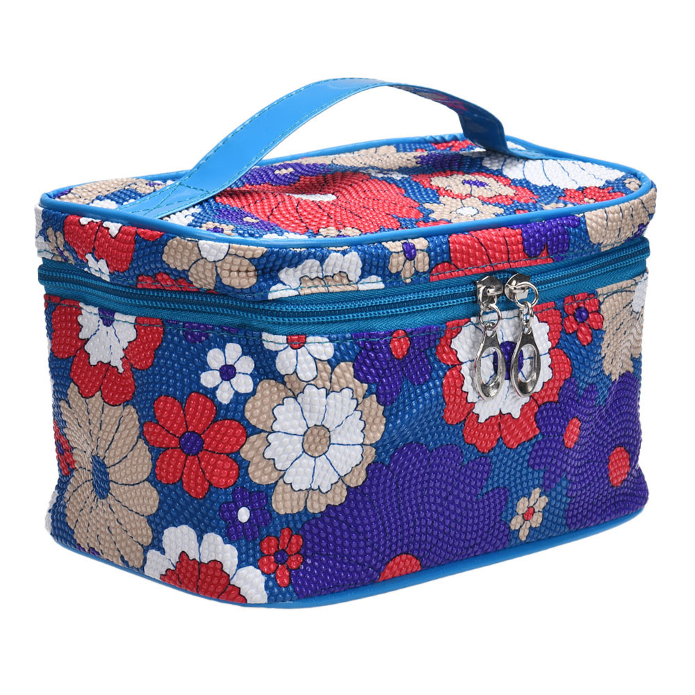 Square Sunflower Zipper Cosmetic bag Toiletry bag kits ...