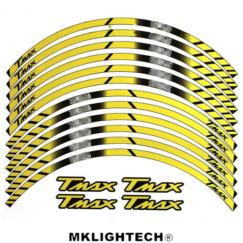 Motorcycle FIT YAMAHA TMAX ALL TMAX General purpose motorcycle wheel decals Reflective stickers rim stripes in Decals Stickers from Automobiles Motorcycles