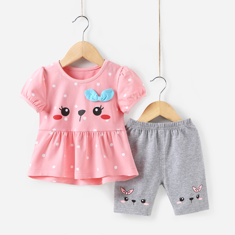 2018 New Casual Children Sets Flowers Blue T-shirt+ Pants With Girls Clothing Sets Kids Summer Suit Cat cartoon Clothing Set