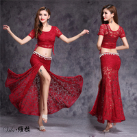 Lace Bellydance Costume 2017 New Model Hot Sale Women Belly Dance Suits Top Skirt Waist Chain