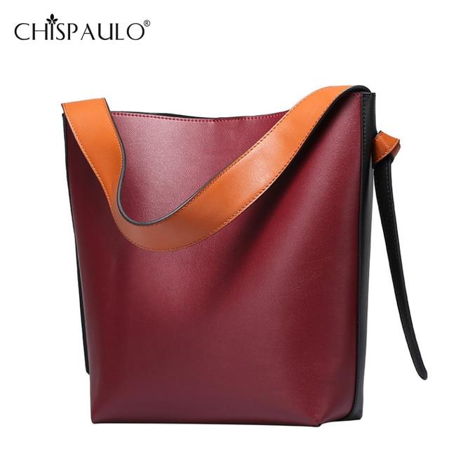 Women Fashion Genuine Leather Bag Designer Handbags Two Tone Large Capacity  Cowhide Tote Bag Famous Brands 96255545d3e8e
