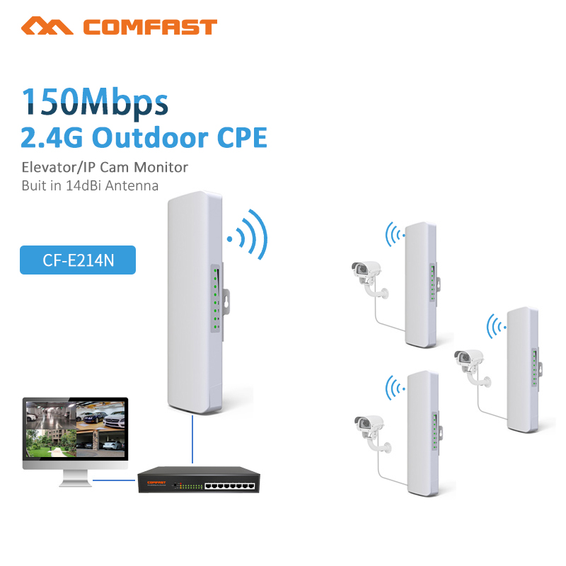 2pcs Comfast Wireless outdoor wifi CPE CF-E214NV2 WIFI signal booster 1-2 km network monitoring CPE client receiver Router cpe arderia cpe 25 5a