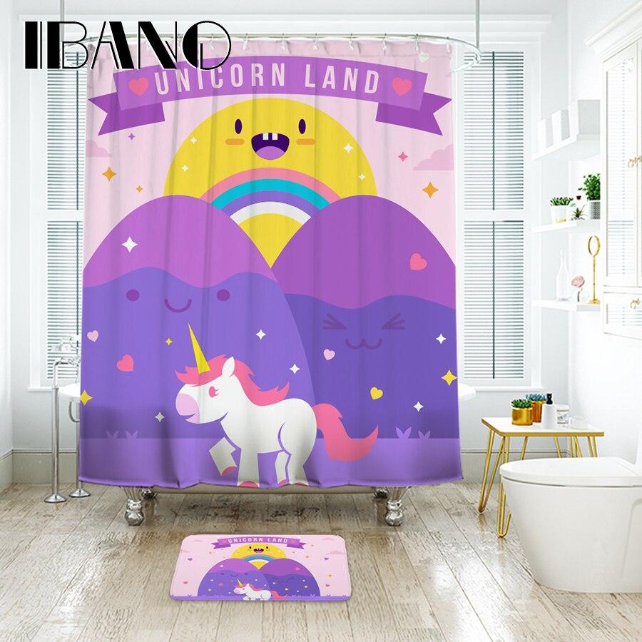 IBANO Kawaii Unicorn Land Shower Curtain Waterproof Polyester Fabric Bath Curtain For The Bathroom With 12 pcs Hooks