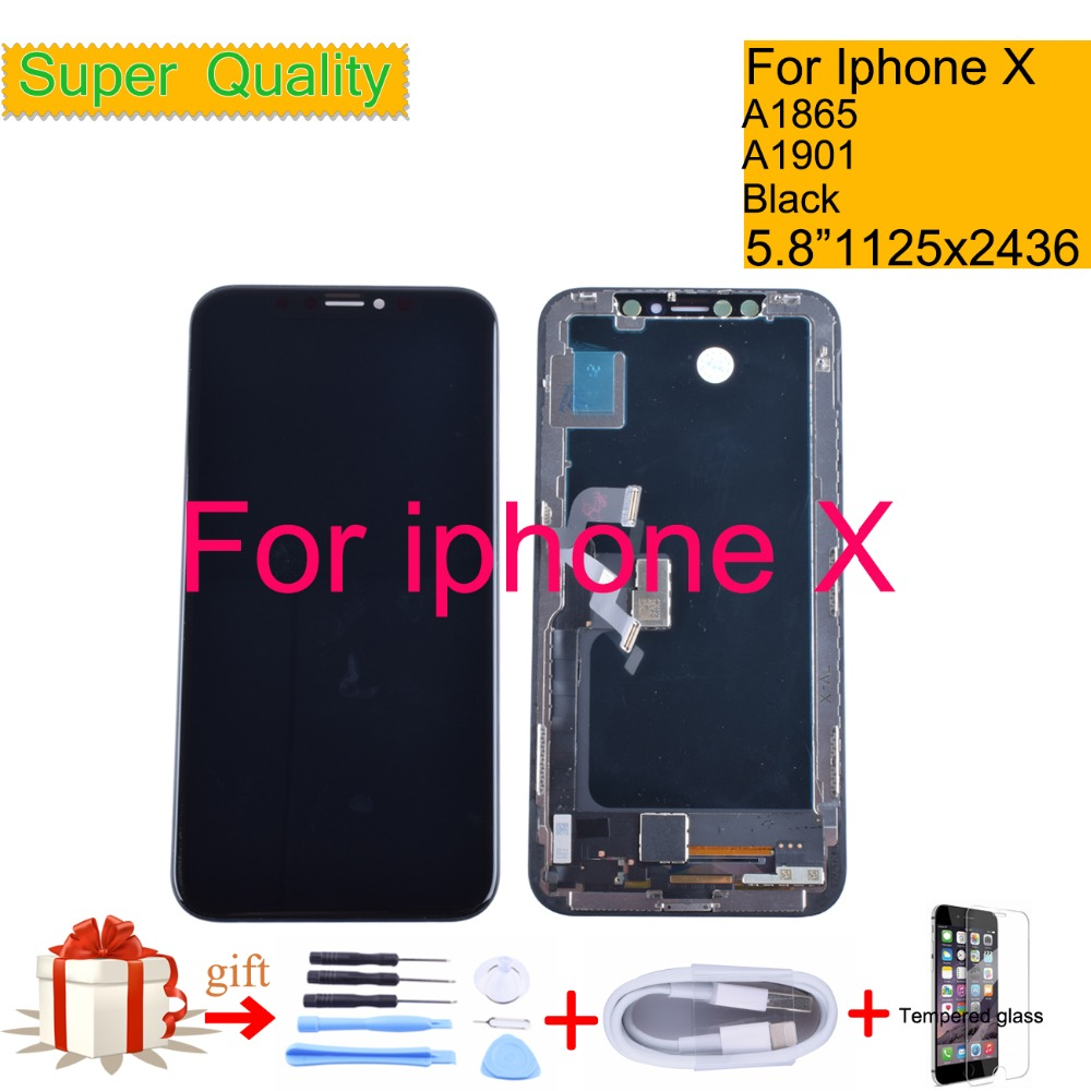 Super OLED 5,8 для iphone X цифровой преобразователь сенсорного ввода с ЖК дисплеем в сборе панель Pantalla Мониторы ЖК дисплей сборки выполните A1865 A1901