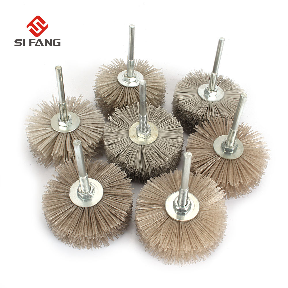 3Pc  80MM Abrasive Wire Grinding Wheel 6MM Shaft Nylon Bristle Brush For  Wood Furniture Mahogany Polishing Rotary Tools