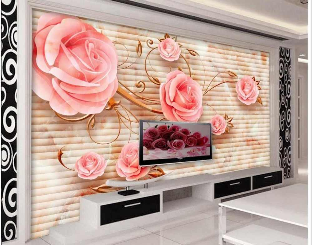 3d customized wallpaper Modern style stone carving roses photo wallpaper for walls Home Decoration