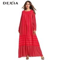 Dexia Plaid Printed Beach Cotton Full Sleeve Dress Robe Long Boho Vadim Loose Jurken Plus Size 3XL 4XL Dress Red Women 7532