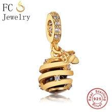 27ca26cc4 FC Jewelry Fit Original Pandora Charms Bracelet 925 Silver Gold Color Honey  Bee Honeycomb Beads Pendant for Making DIY Berloque
