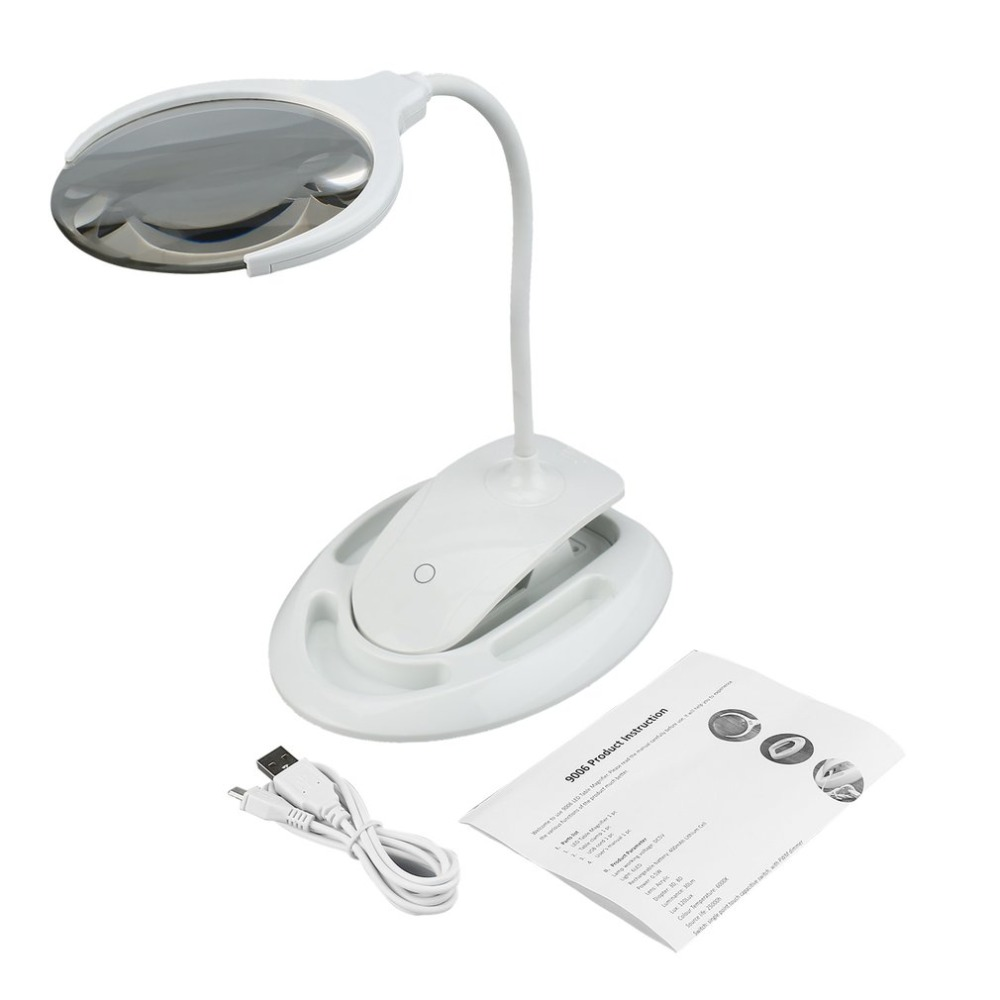 10X LED Magnifier Light Magnifier Large Lens Magnifying Glass Reading Light Clip-on Table Lamp цена