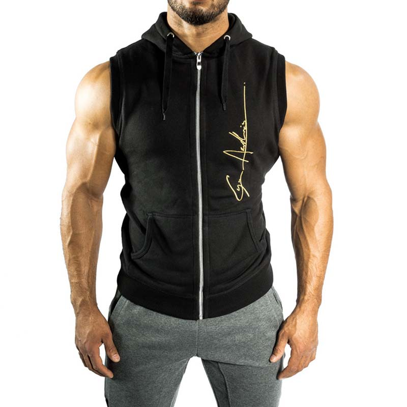 Men fitness bodybuilding training shirt sport t shirt running gym fitness tights Sleeveless Clothing Zipper vest M-014