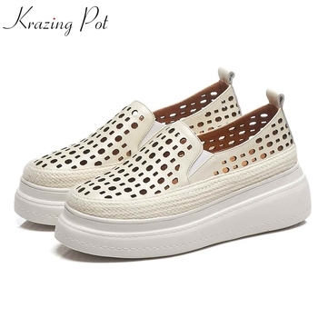 Krazing Pot cow leather slip on round toe sneaker summer hole decoration holiday streetwear model gladiator vulcanized shoes L16
