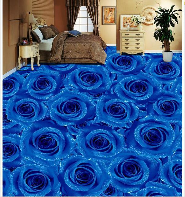 3D PVC Floor Wallpaper Blue Rose Living Room Bedroom Tiles Custom Photo Self