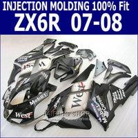 West Fairings For Kawasaki Zx6r 2008 08 07 2007 Injection Mold Fairing Kit Customize Free S102