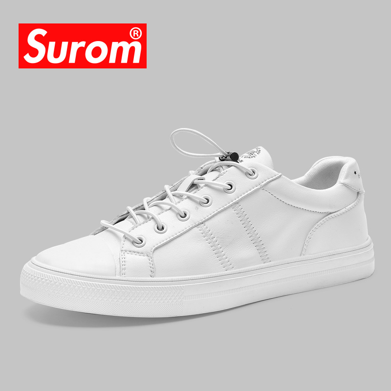 SUROM 2018 Men's White Krasovki Spring New Casual Shoes Breathable - Men's Shoes