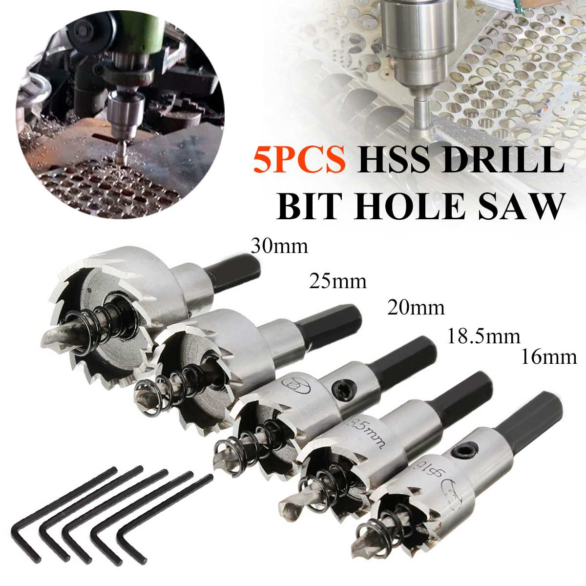 5PCS Carbide Tip HSS Drill Bit Hole Saw Set Stainless Steel Metal Alloy 16/18.5/20/25/30mm