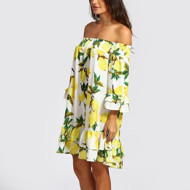 Women Dress 2018 Summer Sexy Off Shoulder Lemon Print Ruffled Chiffon Dress Boho Party Beach Mini Dresses Vestidos de fiesta