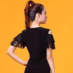 Image 5 - שחור V צוואר קצר שרוול מודרני לטיני בגדי ריקוד למעלה לנשים/נקבה רקדנים, ווג סלוניים תלבושות ביצועים ללבוש YR0303