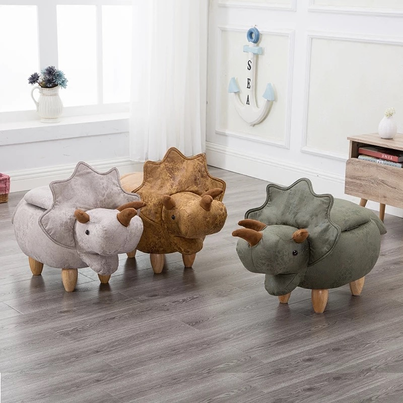 Creative solid wood stool dinosaur stool storage stool change shoe bench footstool for children kids