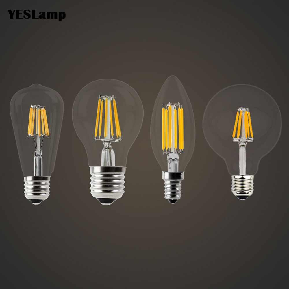 LED Candle Bulb Vintage Filament Light Bulb E14 E27 LED Edison Globe Lamp 220V Glass 2W 4W 6W 8W Replace Incandescent dimmable