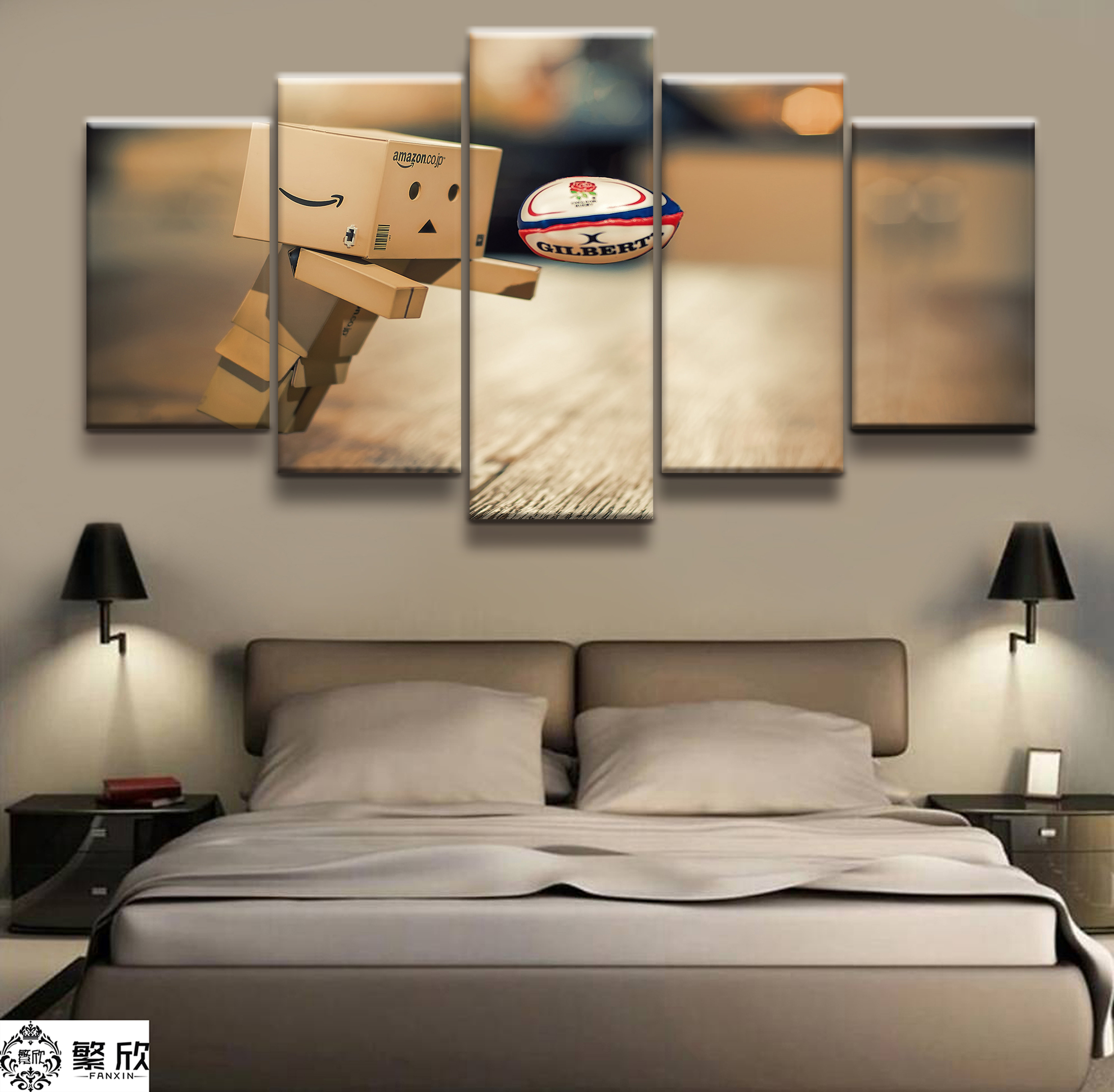5 Panel Cartoon carton Rugby Poster Printed Painting For Living Room Wall Art Decor Picture Artworks
