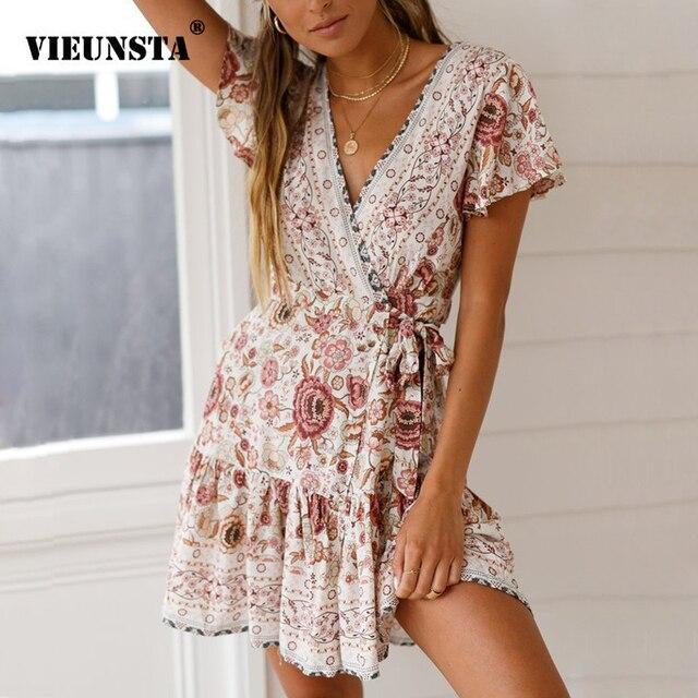 570ca17af98 VIEUNSTA Vintage Floral Print Beach Summer Dress Women New V-neck Ruffle A-Line  Mini Dress Elegant Pleated Sundress Vestido Belt