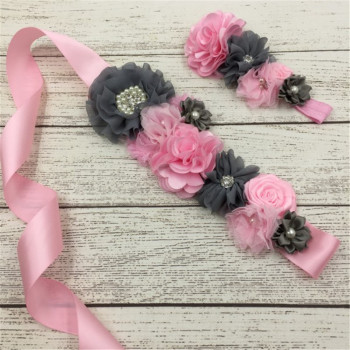 1set/lot 3styles Beautiful Girls Headband Luxe Chiffon Flower Sash Belt with Rhinestone Button Mathcing Headband