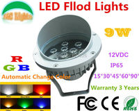 Wholesale DC 12V 9W RGB Automatic Change Color LED Lawn Lights Flood Light IP65 Outdoor LED Garden Spotlights CE RoHS 4Pcs/Lot