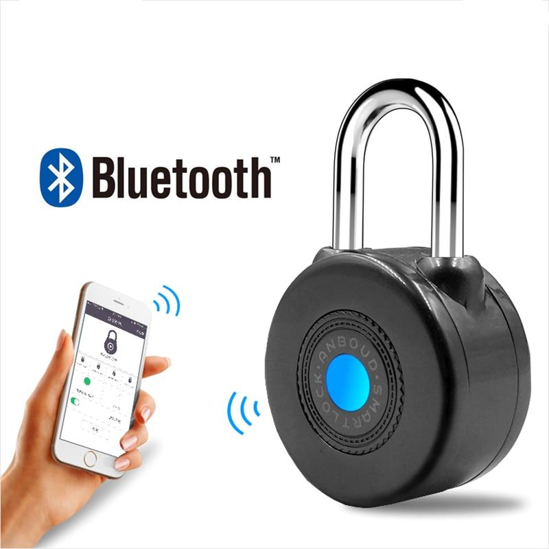 2019 réel Fechadura numérique cadenas plus récent Bluetooth Smart Lock Anti-vol alarme pour cyclisme moto porte avec contrôle App