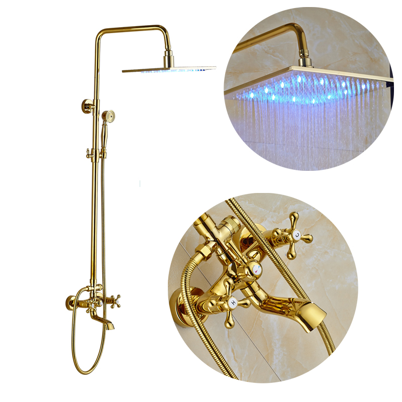 Modern Style Golden Bathroom Shower Faucet Sets 16 LED Shower Head Swivel Spout Tub Mixer Tap with Hand Shower