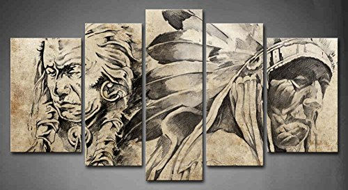 5 Panel Wall Art Tattoo Sketch Of American Indian Warriors Painting  Pictures Print On Canvas People