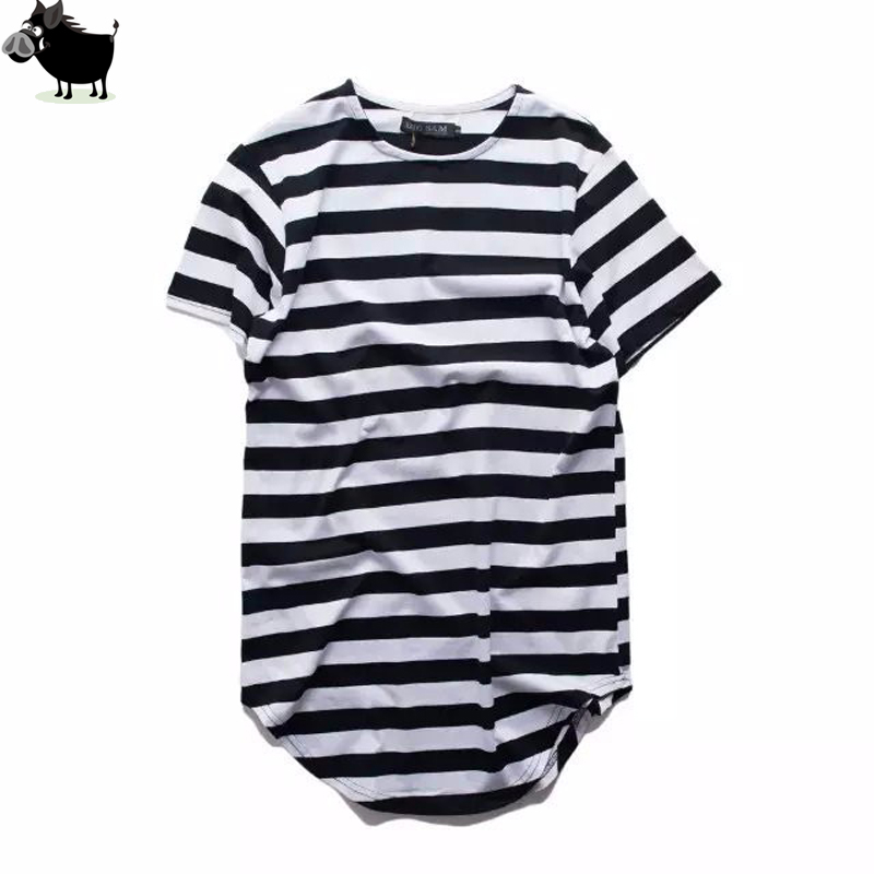 Man Si Tun Urban Style Clothing Longline   T     Shirts   Extended Hipster Hip Hop TShirts Swag Short Sleeve Striped Oversized Tshirt
