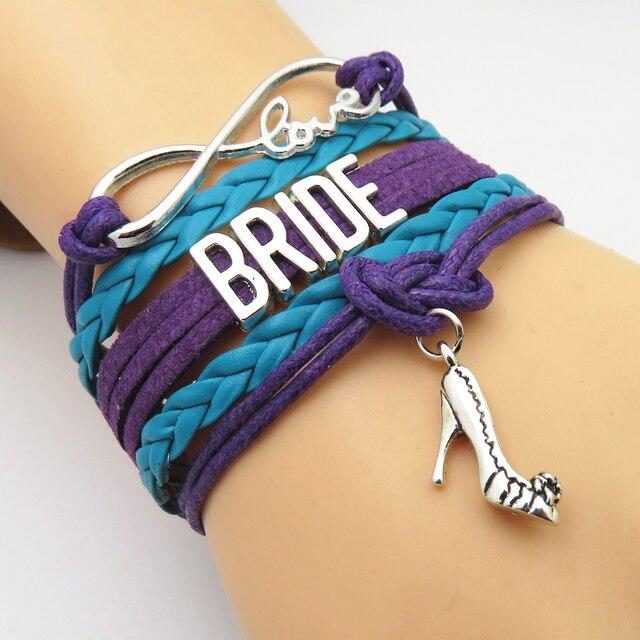 Sandei Fashion Infinity Love Bridesmaid Bridal Bracelet Teal Purple
