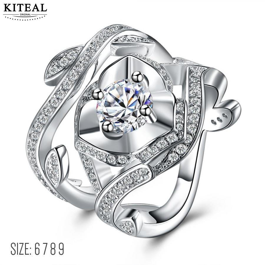 KITEAL Fashion Design silver White size 6 7 8 9 wedding rings for female zircon men jewelry ring men bijoux