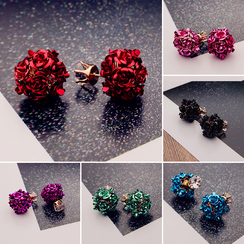 2018 Fashion Korean Lady's Gold Color Rhinestone Crystal Zircon Round Flower Ball Stud Earrings For Women Girls Gift Jewelry