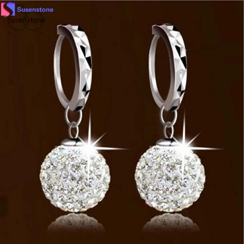 SUSENSTONE Unique Womens white gold filled white Clear crystal charming earring #2-3