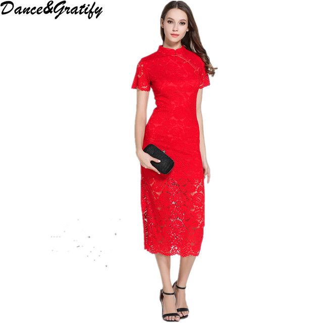 Dance&Gratify Chinese Cheongsam Vestidos Red Lace Party Dress Women ...