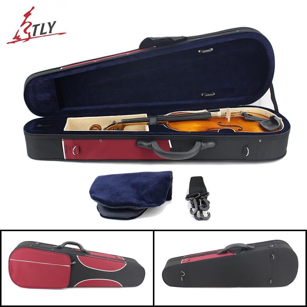 Red & Black Stitching Oxford Triangle Violin Case w/ Straps for 4/4 3/4 1/2 1/4 1/8 1/16 Violin 3 4 4 4 1 2 1 4 1 8 1 16