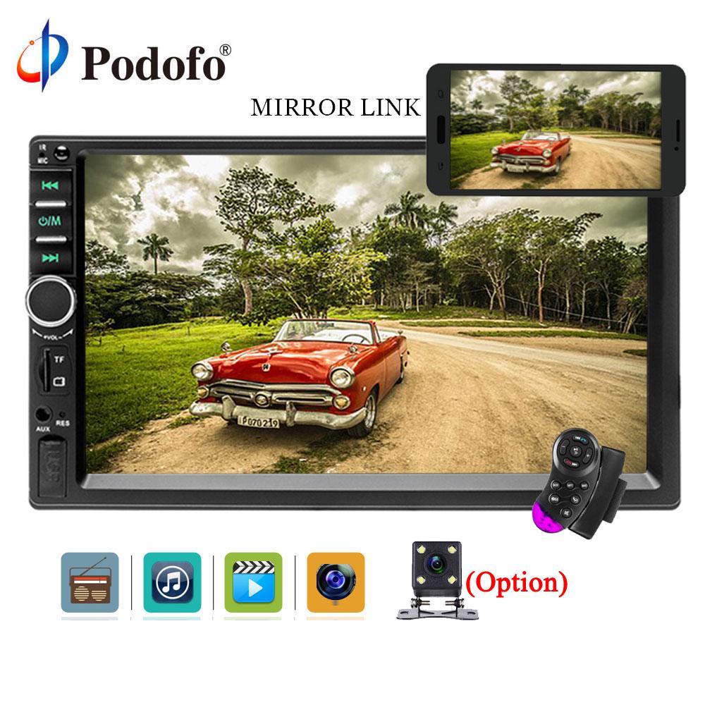 Podofo autoradio Bluetooth autoradio autoradio 7 ''2din ecran tactile autoradio mains libres caméra de recul commande au volant FM