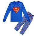 Супермен Мальчики Пижамы Наборы для 8 9 10 11 12 года с длинным Рукавом Детей Пижамы детские Пижамы Мальчик pijamas PJS неглиже WQBL
