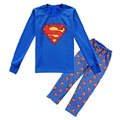 Superman Pijamas de Los Muchachos Fija para 8 9 10 11 12 año de Manga larga de Los Niños ropa de Dormir Kids Pijamas Niño pijamas batas PJS WQBL