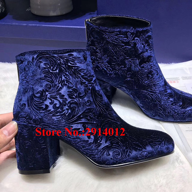 530d672ba55 Bottine Femme Fashion Women Booties Blue Velvet Laser Embroidery Ankle Boots  Block Chunky Heels Back Zip