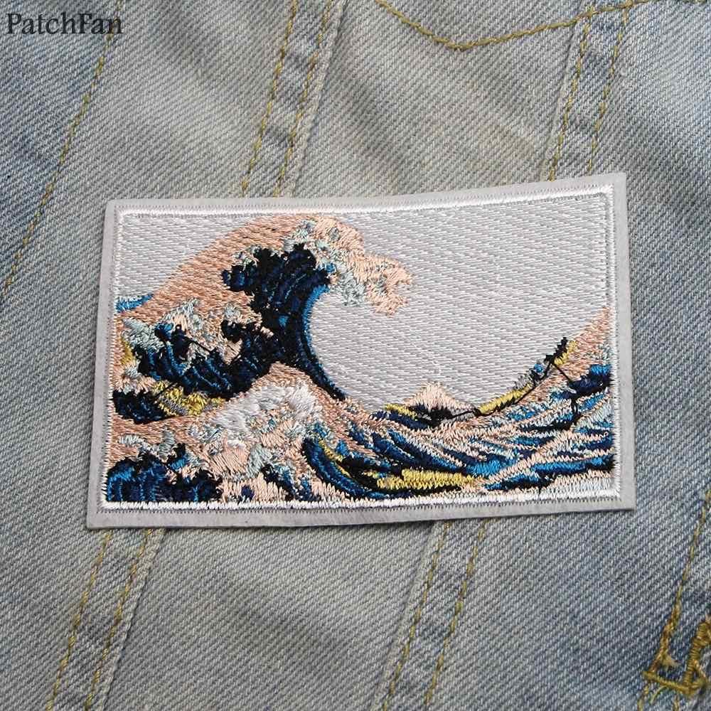 Patchfanคลื่นGreat WaveปิดKanagawa Applique Patchesสติกเกอร์เย็บJerseyเสื้อผ้าParaแจ็คเก็ตป้ายเหล็กบนเสื้อยืดA0865