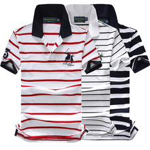 New Brand Men 100%Cotton Fashion Striped Homme Summer Short-sleeve Camisas 3D polo embroidery A01