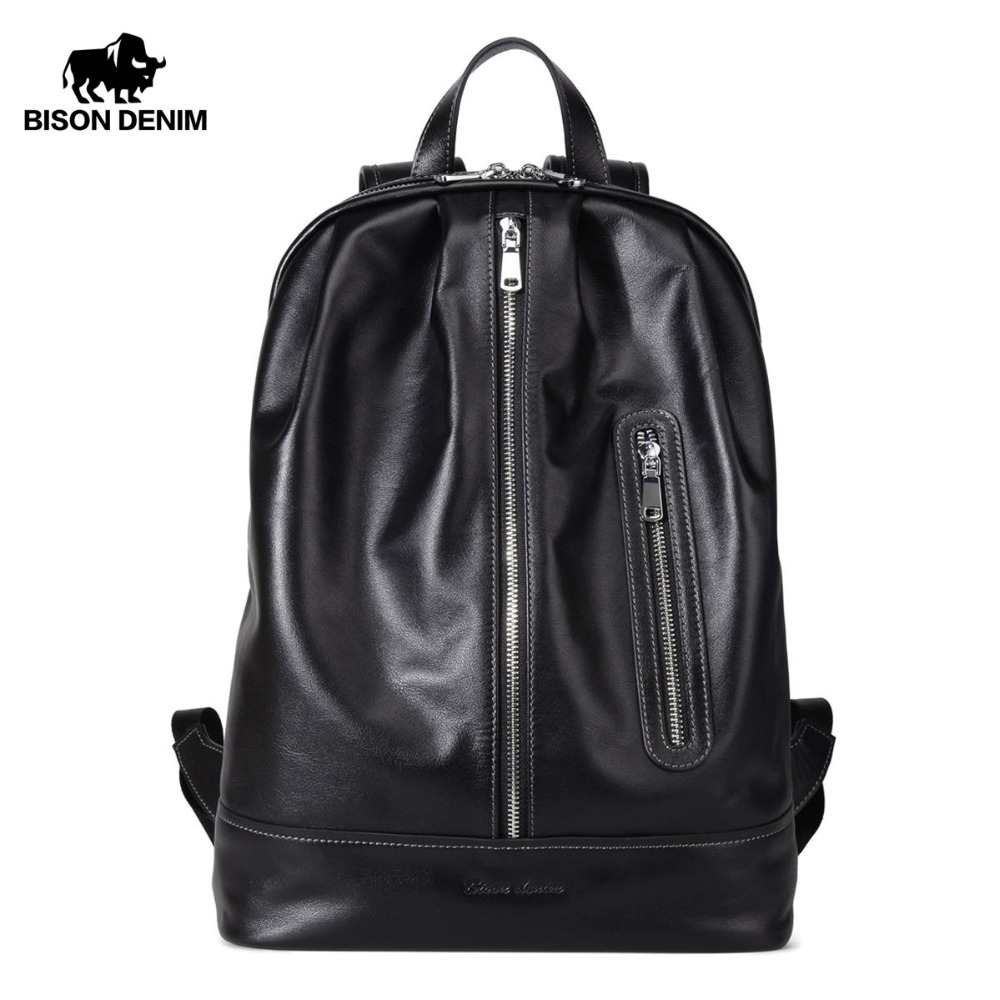 BISON DENIM Genuine Leather Backpack 14 Laptop School Bag Fashion Male Backpack for Teenager Leisure Travel backpack Men Women fashion hiking leisure men backpack