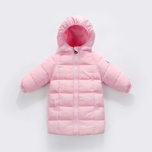 New Baby Boy Girl Long Feather Down Coat Kids Hooded Jacket Russia Winter Warm Down Outerwear Children's Clothes 1-6Years