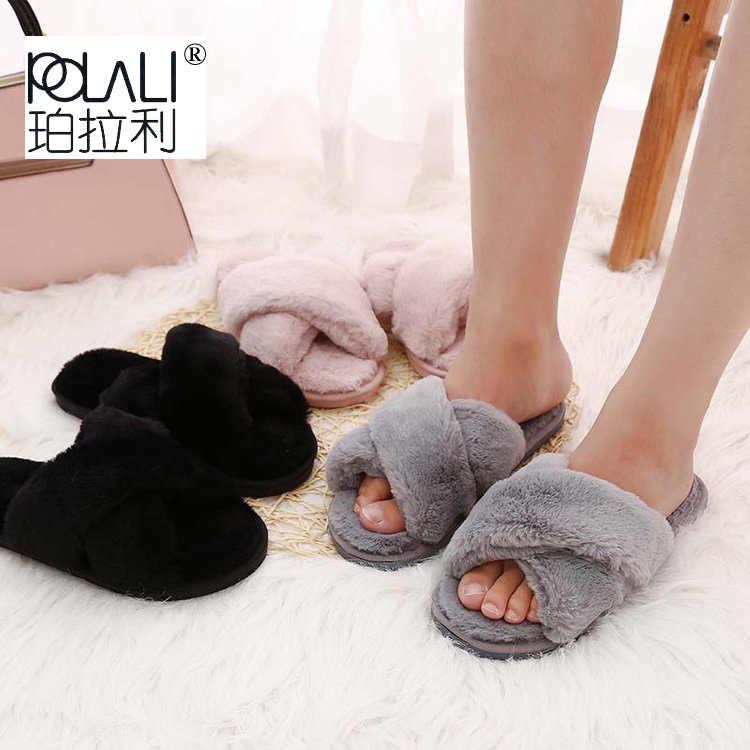 Zapatillas de Invierno para mujer zapatos planos dulces zapatillas para el hogar Mujer Zapatos de Interior de piel suave deslizamiento en negro Rosa gris femenino zapatilla DE